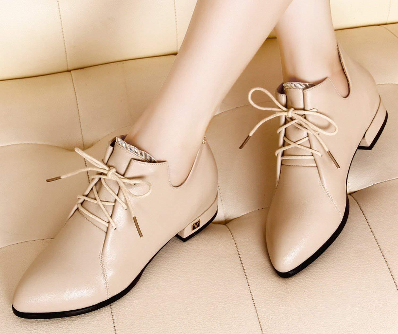 HhGold Schuhe Schuhschrank Mode-Schuhe einfachen Schuhe British Wind Spitz Schuhen Schuhen Schuhen mit Schuhe Keilabsatz unten (Farbe   Creamy-Weiß Größe   35) 2c5ba8