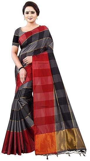 13decc386 Harekrishna Fashion Cotton Silk Saree (Hf-Checkered Pattern Women'S  Saree_Black_Free Size)