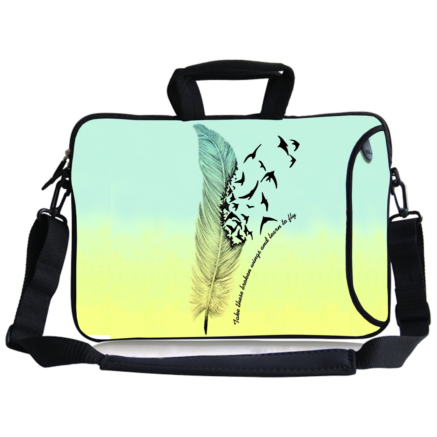 Laptop Shoulder Bag Neoprene Sleeve Case Cover with Side Pocket, Carrying Handle, Removable Shoulder Strap for for 13'' Macbook Air/Pro|iPad Pro 12.9|Surface Book Pro3/Pro4|Chromebook 13 (Take These Broken Wing and Learn To Fly)