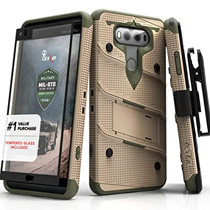 new concept eaac1 d3fa9 Zizo Wireless Bolt Series with Screen Protector and Kickstand Military  Grade Drop Tested Holster Belt Clip for LG V20