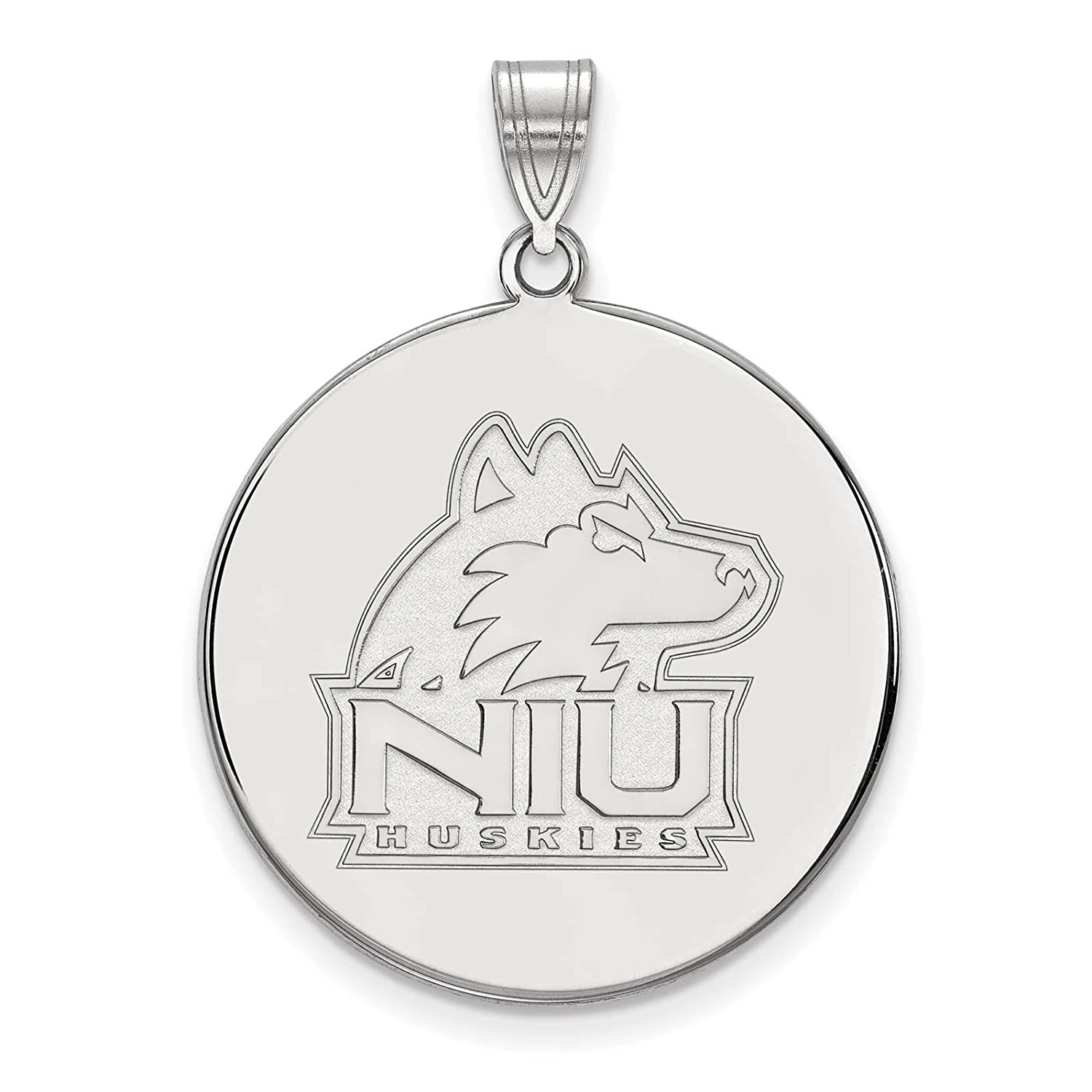 925 Sterling Silver Rhodium-plated Laser-cut Northern Illinois University XL Disc Pendant