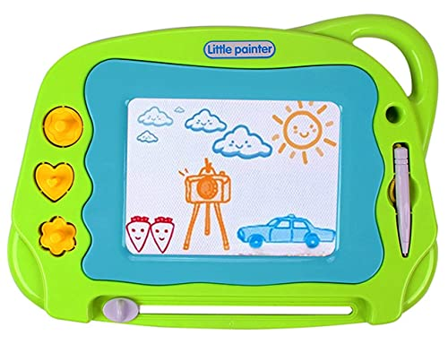 Magnetic Drawing Board Mini Travel Magna Doodle Erasable Writing Sketch Colorful Pad Area Educational Learning Toy For Kid Toddlers Babies With 3 Stamps And 1 Pen Green