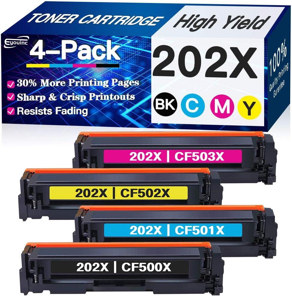 Compatible 4-Pack (BK+C+Y+M) CF500X CF501X 202X Toner Cartridge 202A CF502X CF503X High Yield Used for HP Laserjet Pro M254dw MFP M280nw M281fdw M281cdw, Sold by Eyouinc
