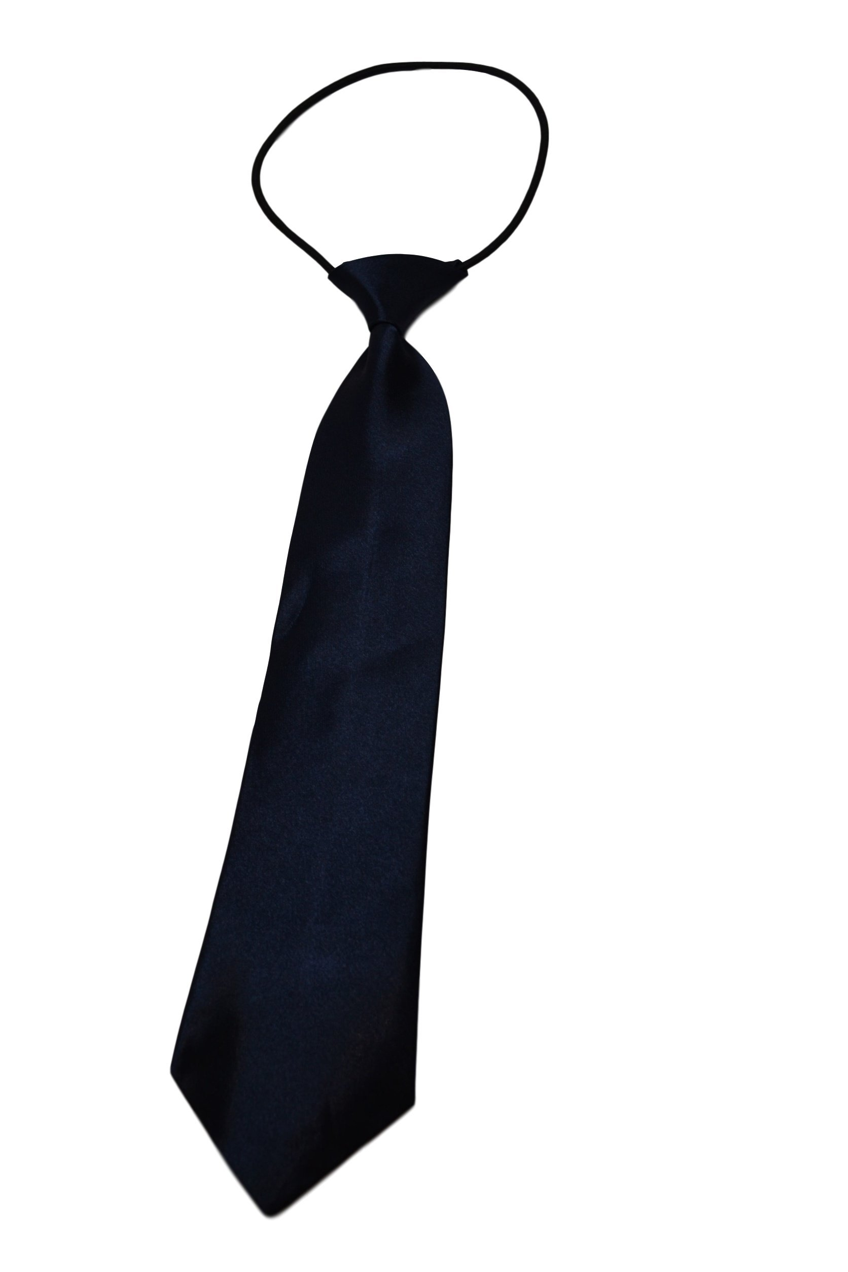 Roo Threads Boys 12 inch Elastic Necktie, Navy Blue