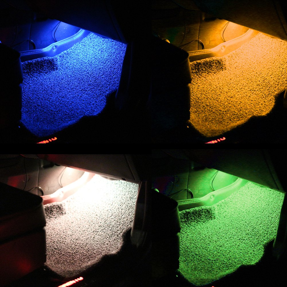 8 Color Changing Car Underdash Light Waterproof Car Interior Floor Etmosphere Lamp With Remote Control and Music Sensative Signal Flash Lights