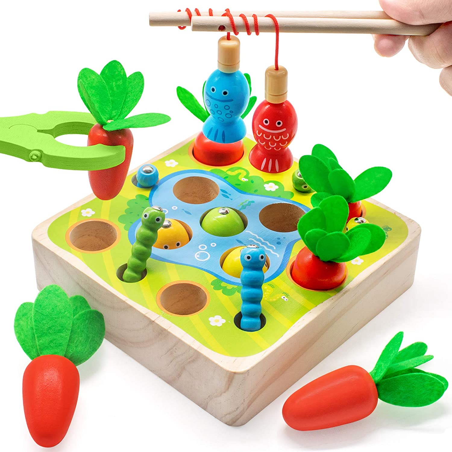 Wooden Montessori Toys for Toddler Insect Catching Toys Fishing Games 3 in 1 Carrot Harvest Game Fine Motor Skills Toy Sorting /& Counting Educational Puzzle Toy for Boys and Girls-Carrot Harvest