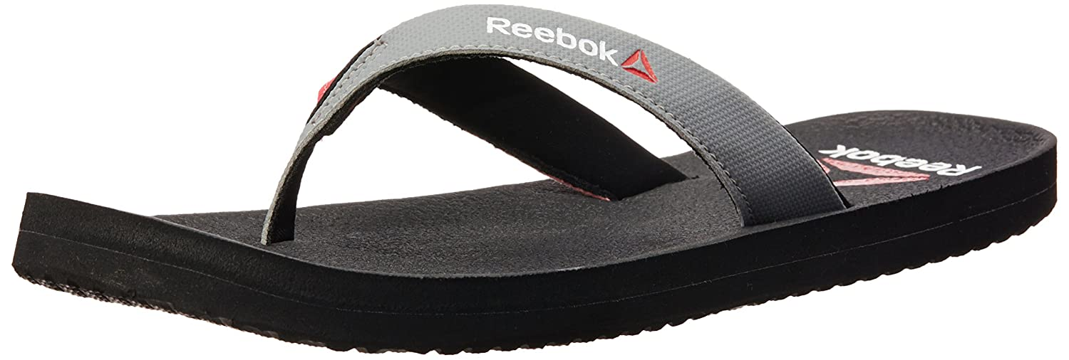 Reebok Women's Adventure Flip Black, Flat Grey and Neon Yllw Flip-Flops and House Slippers - Flip Flops - Plastic Moulded - 7 UK/India (40.5 EU)(9.5 US)