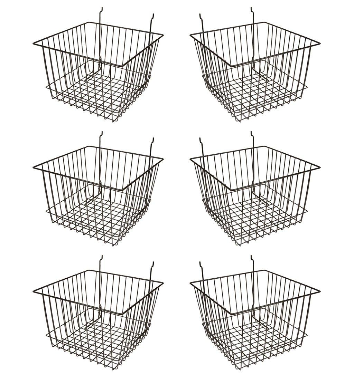 Econoco - Black Multi-Fit 12'' Deep Wire Basket for Slatwall, Pegboard or Gridwall (Set of 6) Metal Semi-Gloss Basket, Black