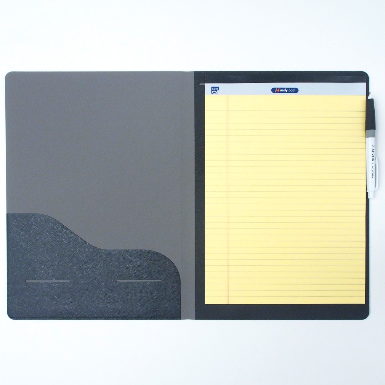 3 Pockets A4 Memo Padfolio F1 with AHZOA Pencil, Including Legal Writing Pad, Synthetic Leather About 9 X 13 inch Folder Clipboard (Black)