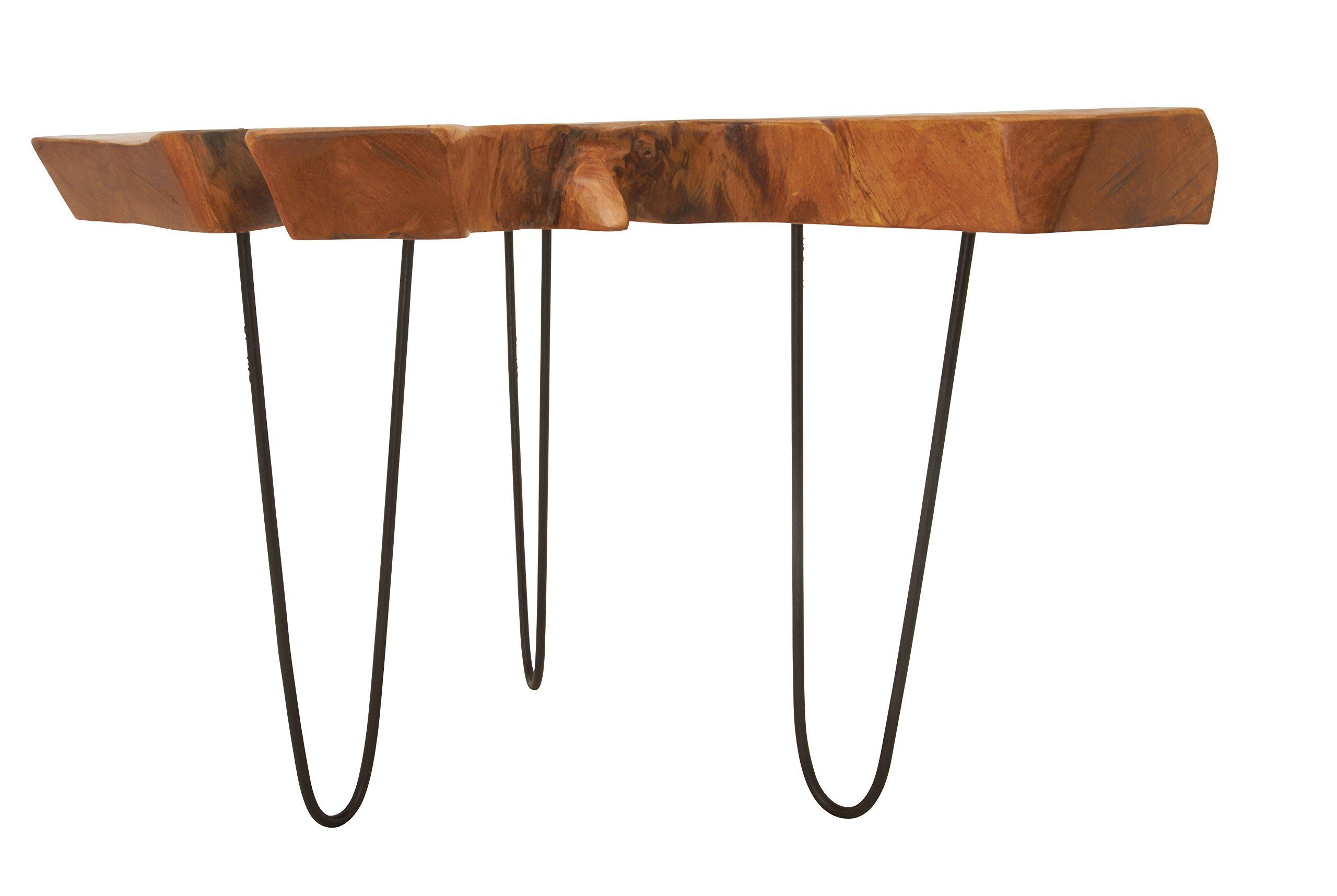 Deco 79 39181 Teak Wood Metal Accent Table, 32'' x 19''