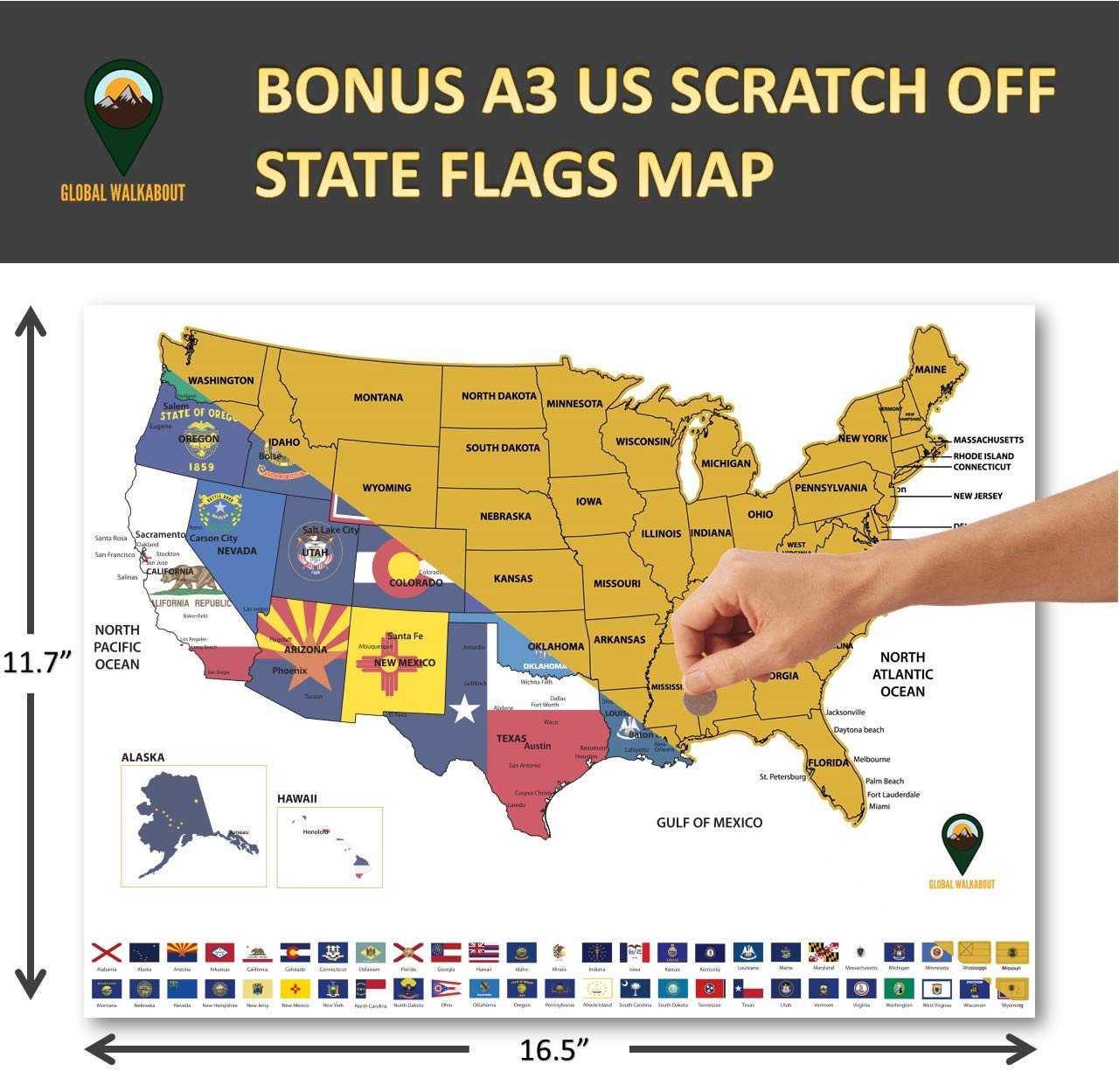Scratch Off XXL World Flags Map with Bonus A3 USA map - Country ...