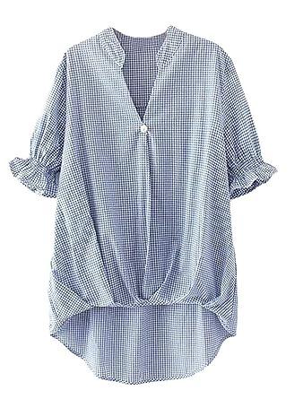 781d1c26d2fdb9 Hemd Damen Kurzarm V-Ausschnitt Kariert Asymmetrisch Irregular Mode Marken  Tunika Sommer Elegante Locker Beiläufiges Shirt Bluse Oberteile Frauen: ...