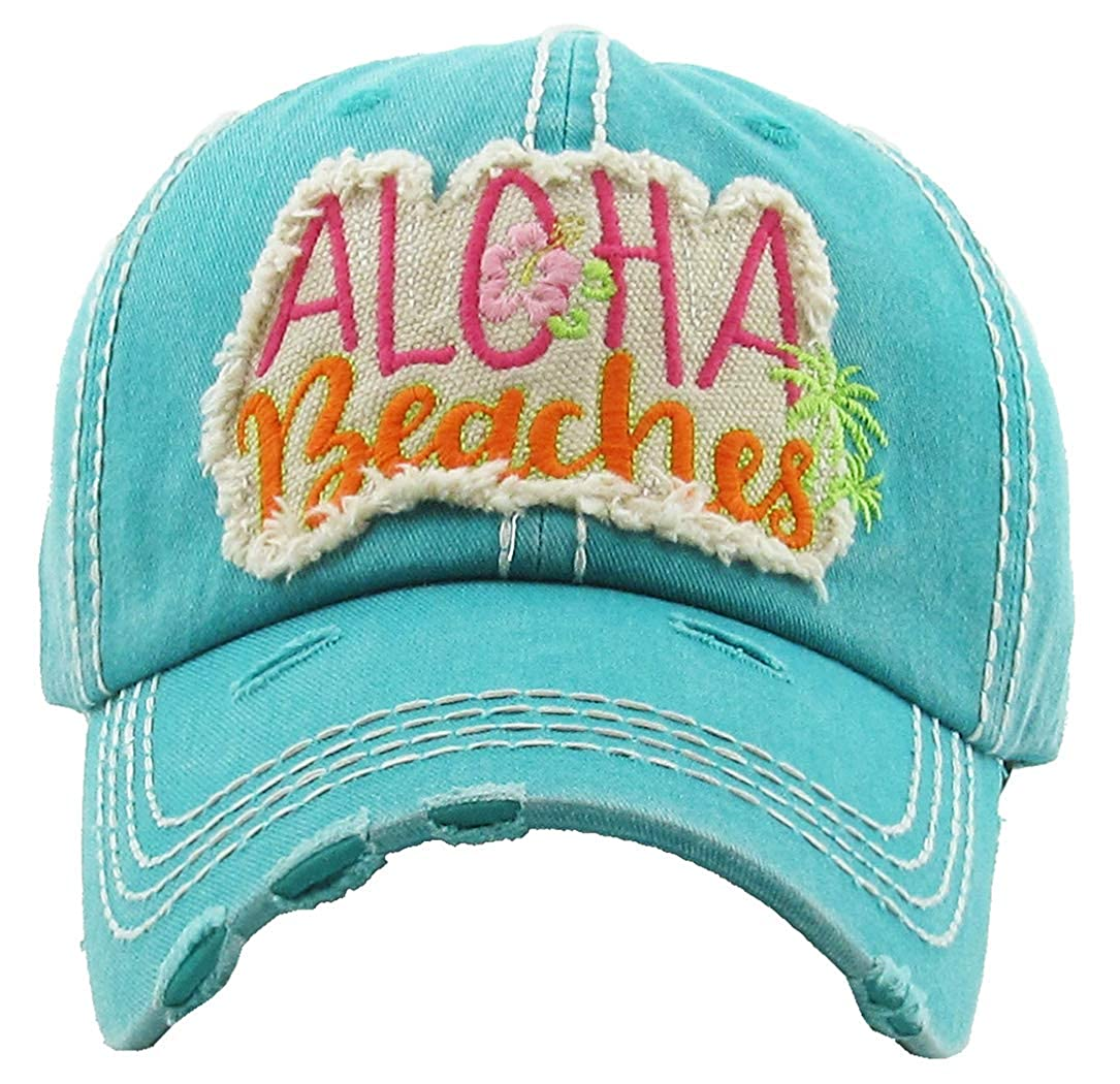 Aloha Beaches  Teal Funky Junque Womens Baseball Cap Distressed Vintage Unconstructed Embroidered Dad Hat