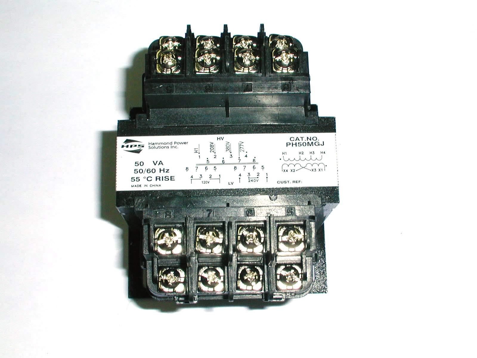 PH50MGJ Transformer, Control, pri: 380/277/208V, 1ph, sec: 50VA, 120/240V.42/.21A