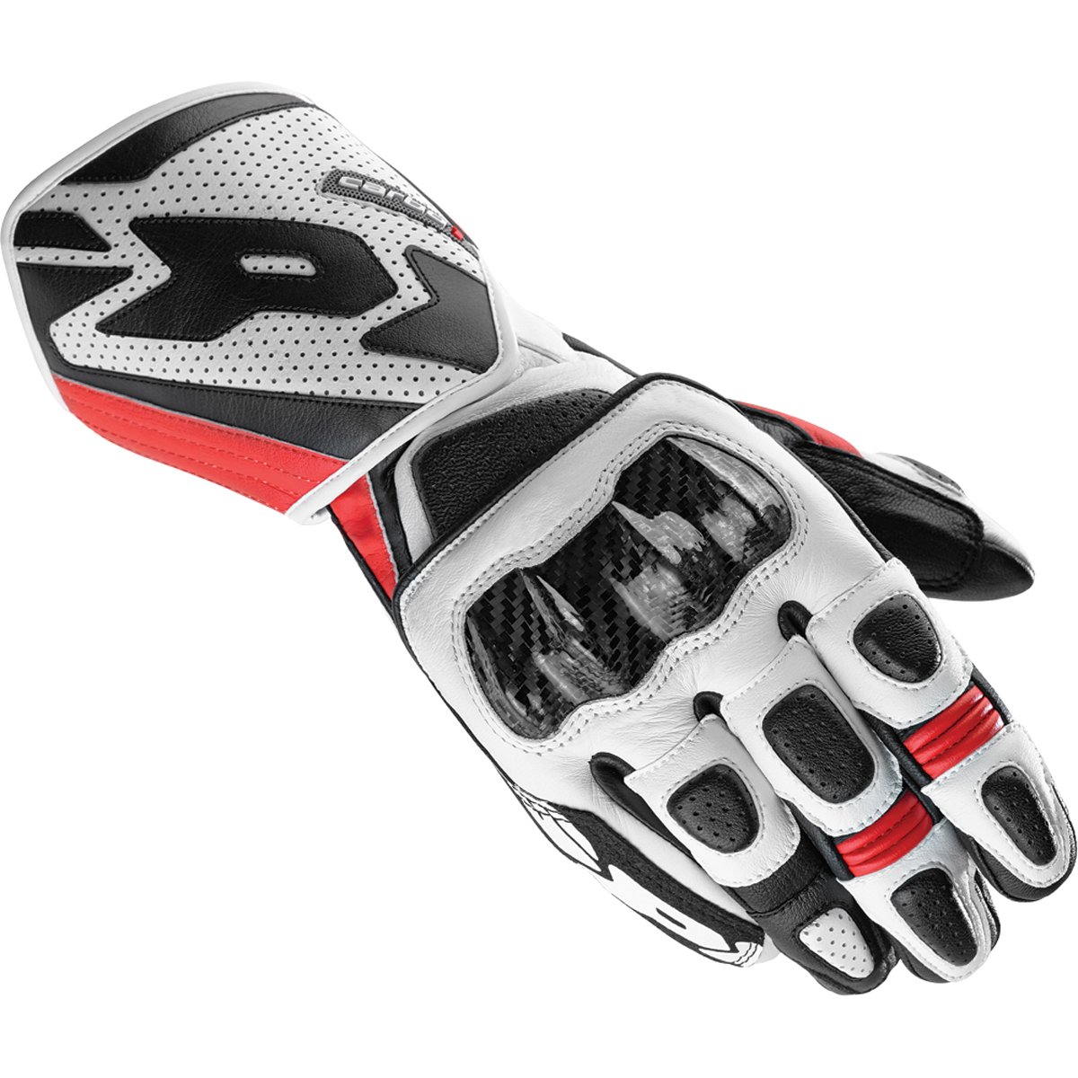 Spidi Carbo 1 Men's Leather Sports Bike Racing Motorcycle Gloves - Black/Red / X-Large
