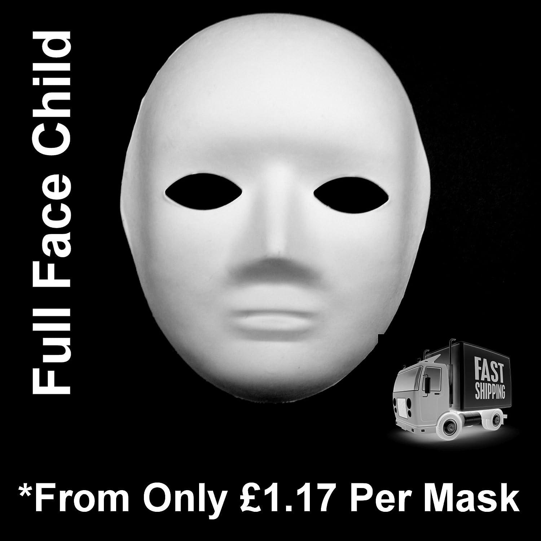 White Full Face Child Mask Plain Mask Decorate Masquerade ...