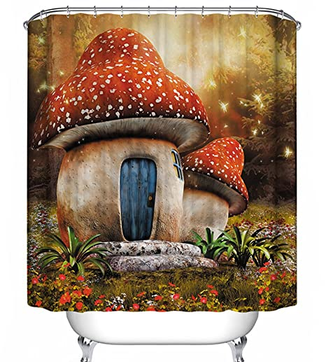 Mushroom House Shower Curtain Enchanted Fairy Tale Forest Gnome Fantasy Story