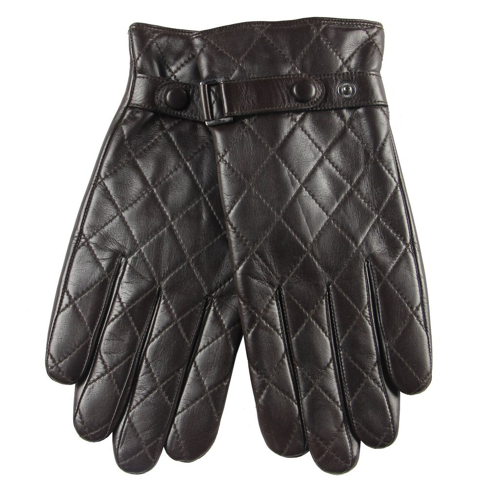 WARMEN Fashion Men's Nappa Leather Gloves with Plaid Stitching Buckle Faster