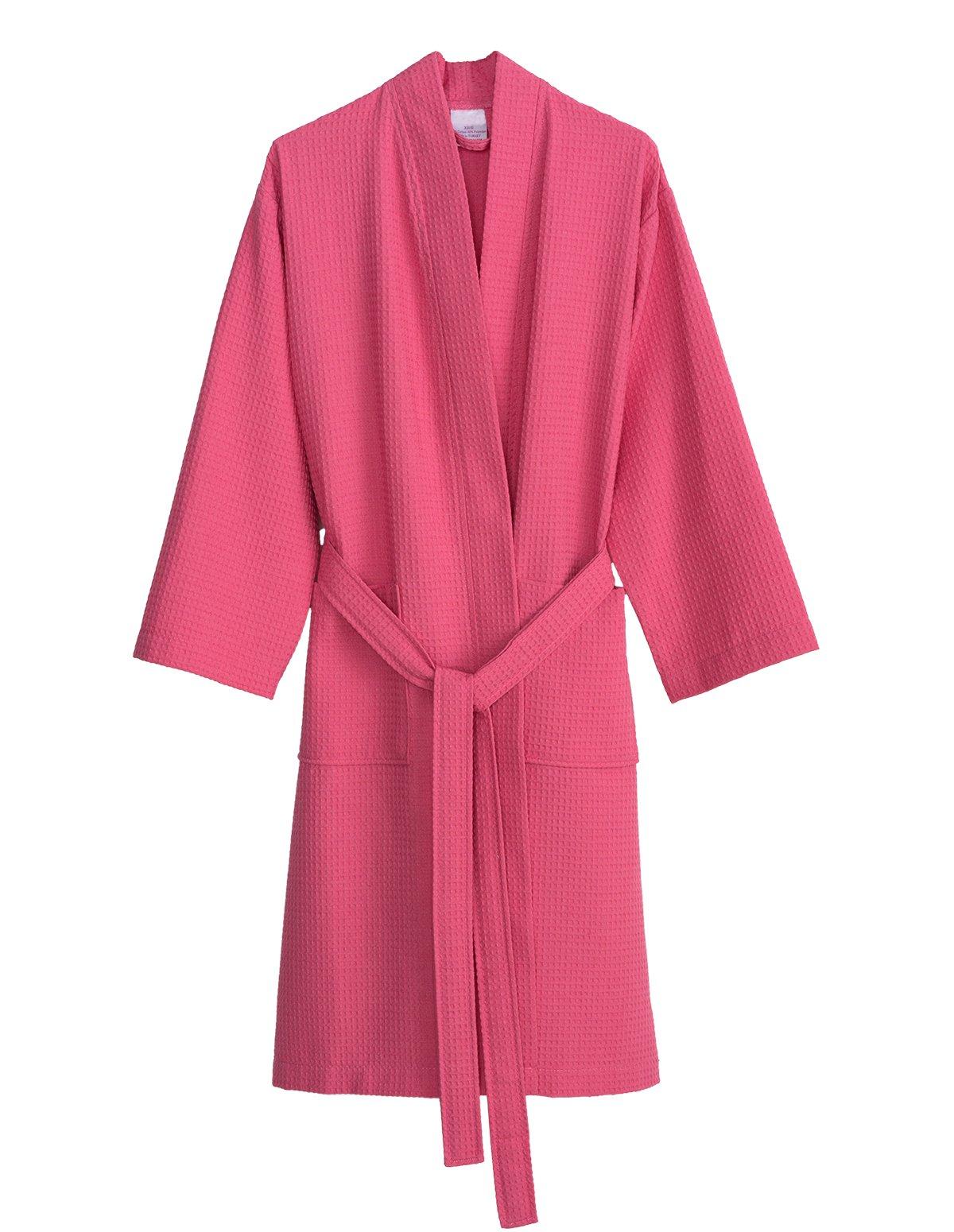 TowelSelections Women's Robe, Kimono Waffle Spa Bathrobe Small/Medium Morning Glory