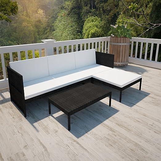 binzhoueushopping - Juego de sofás de jardín (9 piezas, grosor del cojín de asiento de sofá de