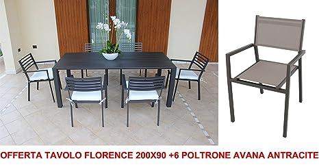 Oferta mesa Florence 200 x 90 + 6 sillones Avana Antracita ...