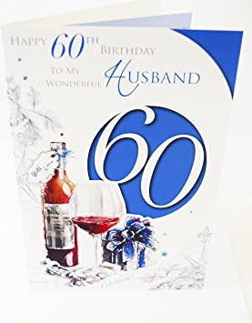 Happy 60th Birthday Husband Card Elegant Mens Lovely Verse Male Age 60