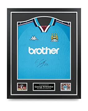 finest selection 2ac43 9686c Georgi Kinkladze Signed Shirt Man City Framed Autograph ...