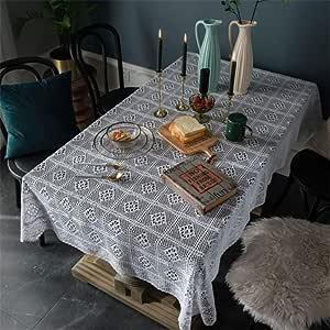 SONGHJ Algodón Blanco Estilo Country Mantel de Navidad Cocina Sala de Estar decoración del hogar Tejer Revestimiento de Mesa Rectángulo Boda Mantel A 140x200cm / 55x79in: Amazon.es: Hogar