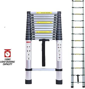 De aluminio telescópica Escalera Escalera plegable multiuso extensible 5M Escalera, 16.5ft nuevo diseño de escalera de extensión, 330 libras / 150 kg de capacidad - 3 años de garantía dljyy: Amazon.es: Bricolaje y herramientas