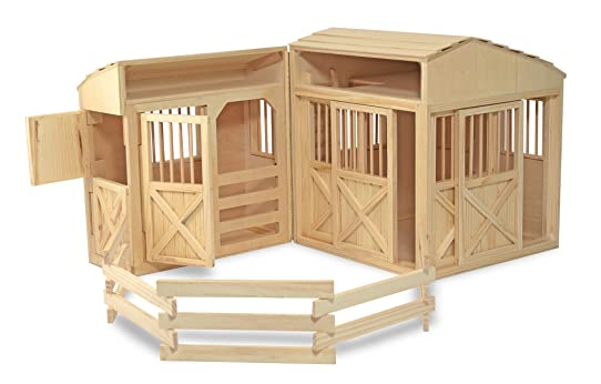 Melissa Doug Folding Wooden Horse Stable Dollhouse With Fence