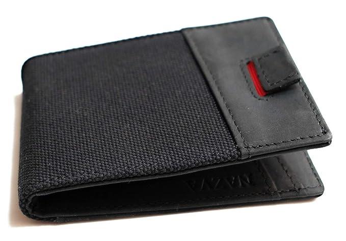 bea6376ea69f91 Minimalist Man Black Slim Wallet - Casual Black Leather and Canvas - Money  Clip Front Pocket