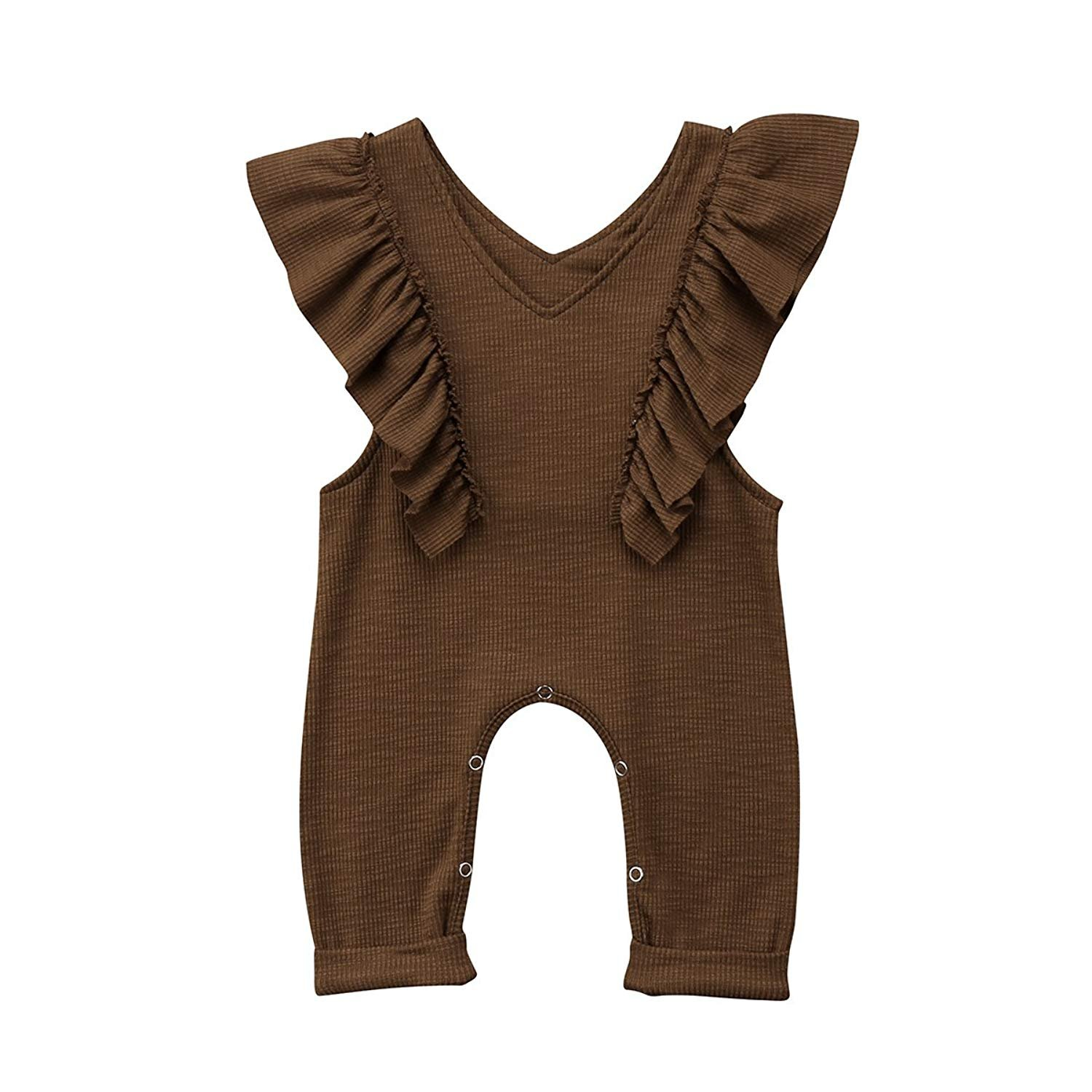 Unmega Baby Girl Sleeveless Romper Ruffle Jumpsuit Long Pants Bodysuit