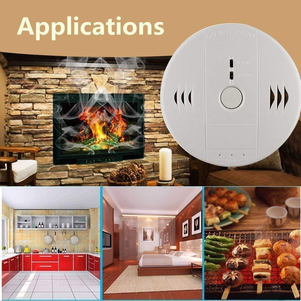 Combination Smoke and Carbon Monoxide Detector Gas Co Detection Alarm,GLBSUNION Voice Warning Smoke and CO Alarm Clock, Electronic Equipment, Power Detection Equipment, Battery Operated, 2-Pack
