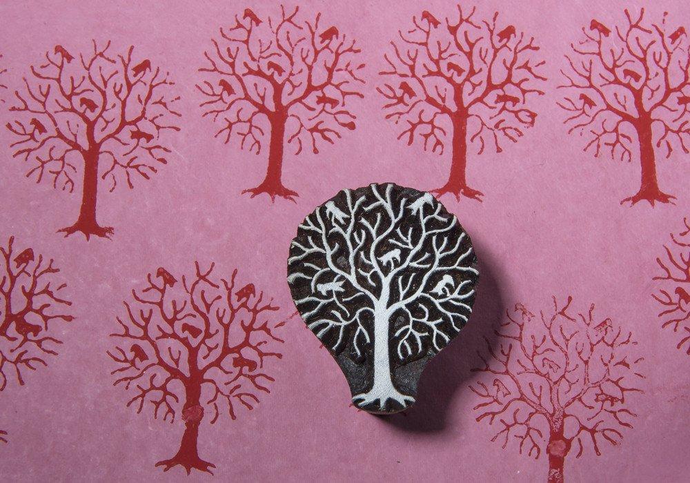 Blockwallah Tree with Birds Wooden Block Stamp
