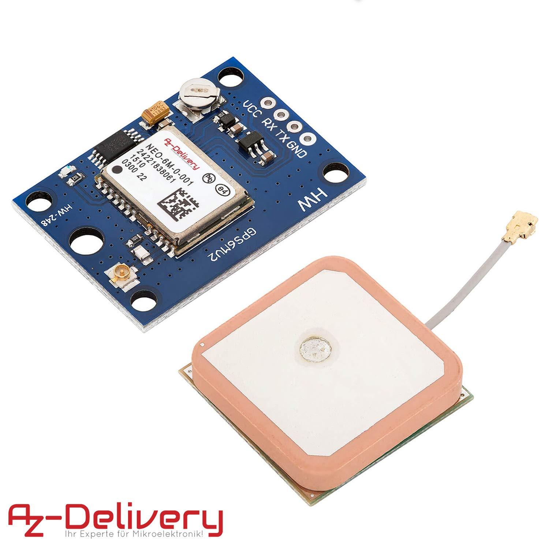 AZDelivery GPS GY-NEO-6M Modulo para Arduino, Raspberry Pi con E-book incluido!