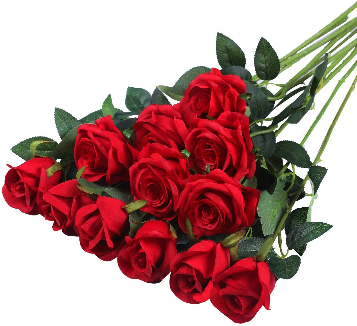 Hawesome 12PCS Artificial Silk Flowers Realistic Roses Bouquet Long Stem for Home Wedding Decoration Party (Red)