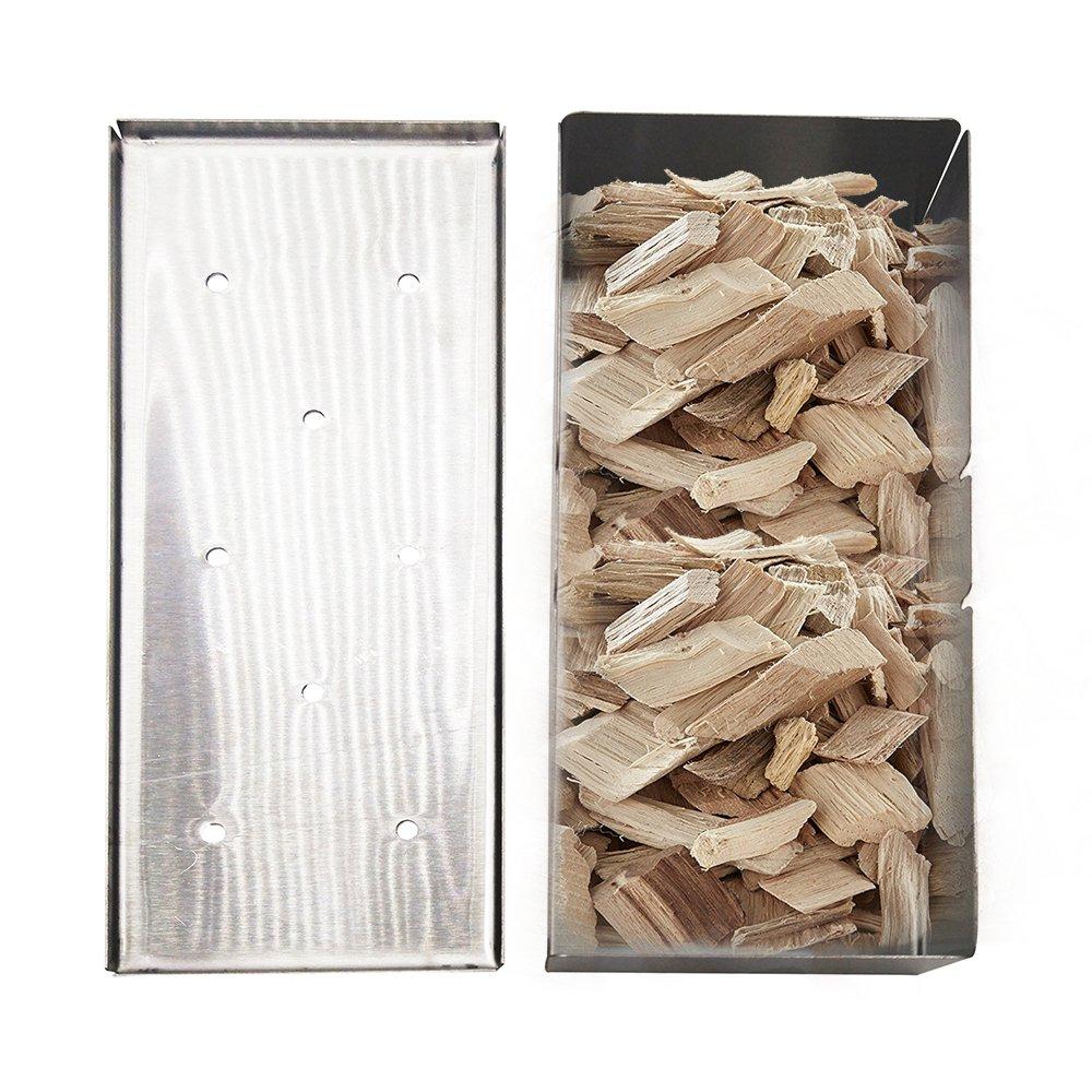 Dracrys Caja de madera antiadherente con tapa para barbacoa ...