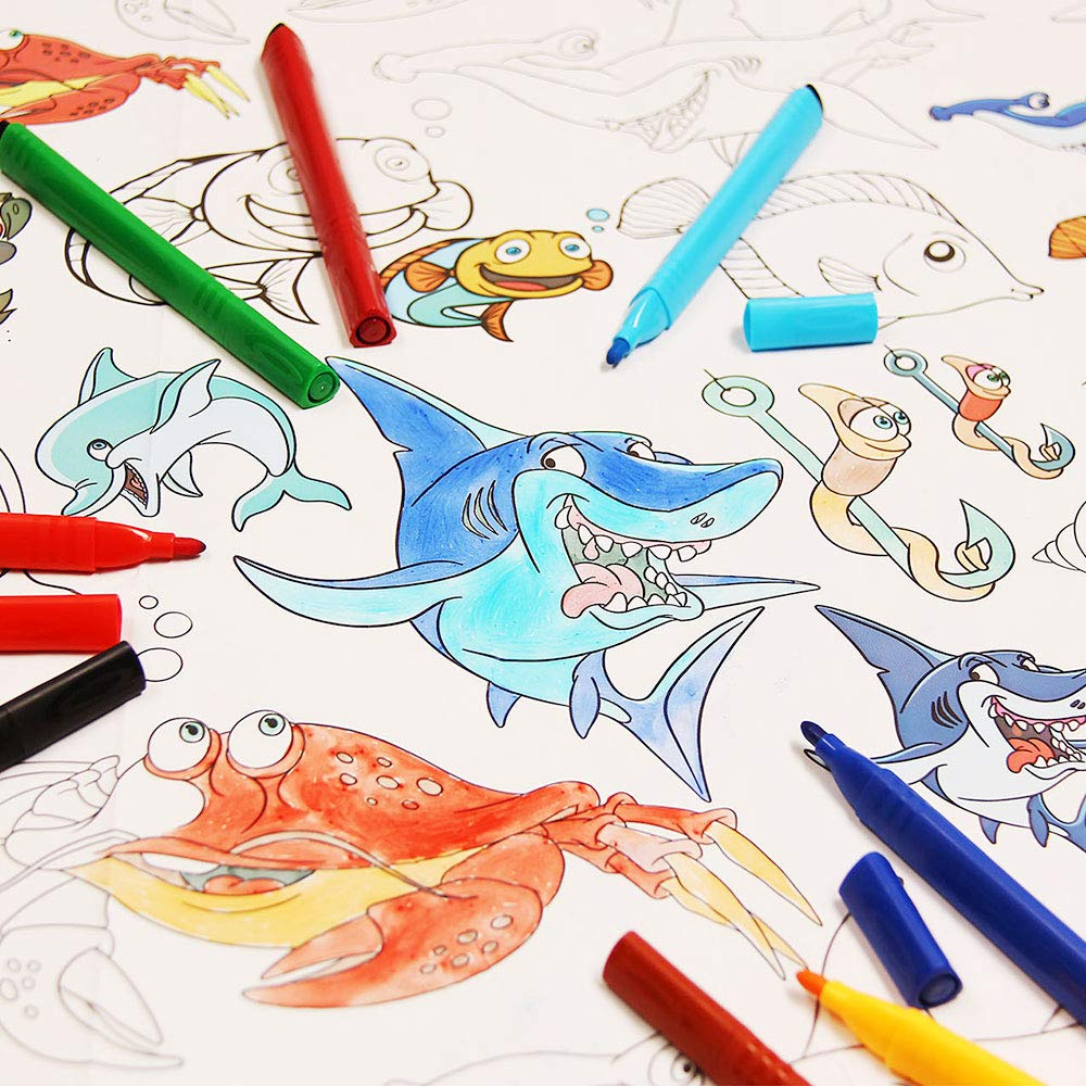 3 in 1 Large Coloring Tablecloth Water Resistant Poster for Kids and Toddlers Colorable Frame «Sea Animals» Fun Painting Activity for Party and Decor Paper Table Doodle Board