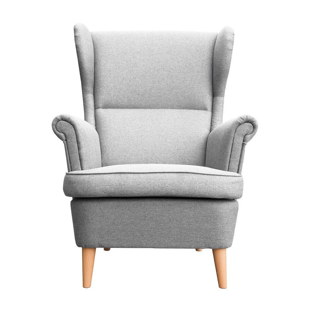 myHomery Sessel Luccy gepolstert - Ohrensessel Polsterstuhl für Esszimmer & Wohnzimmer - Lounge Sessel mit Armlehnen - Eleganter Retro Stuhl aus Stoff mit Holz Füßen - Hellgrau   Sessel