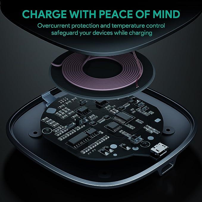 AUKEY Cargador inalámbrico Qi Certified, Wireless Charger Almohadilla de Carga inalámbrica para iPhone XS/XS MAX/XR/X / 8/8 Plus, Samsung S9 /S9+ / S8 ...