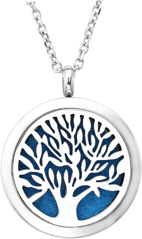 Jovivi Aromatherapie Kette aus Edelstahl Ätherische Öle Parfum Diffusor Halskette Lebensbaum Floating Medaillon Locket Käfig Anhänger