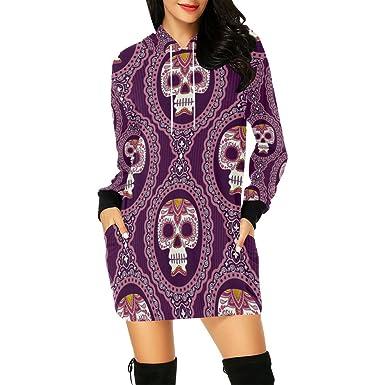 0a8b6d0fad1 Sugar Skull Dia De Los Muertos Women s Pullover Hoodie Sweatshirt ...