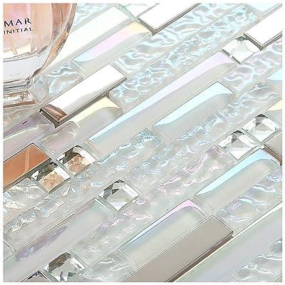 1 Sample 12 x 12 Inches Grey Silver Glass Tile Backsplash Metallic Stainless Steel Tile Sample TSTGT151