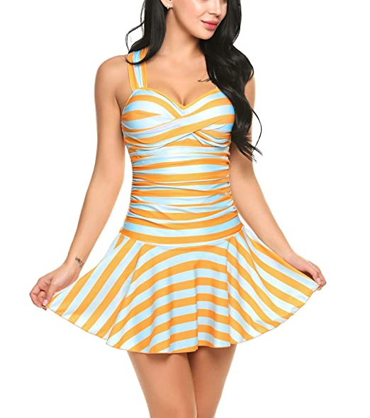 6ac6082a56 Image Unavailable. Image not available for. Color: Dozenla Sexy One Piece  Swim Dress/Hot Spring Swimsuit Padded Striped Beach Wear ...