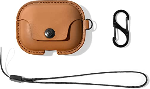 Twelve South AirSnap Pro | Leather Protective Case/Cover with Loss Prevention Clip and Optional Carry Strap for AirPods Pro, Cognac