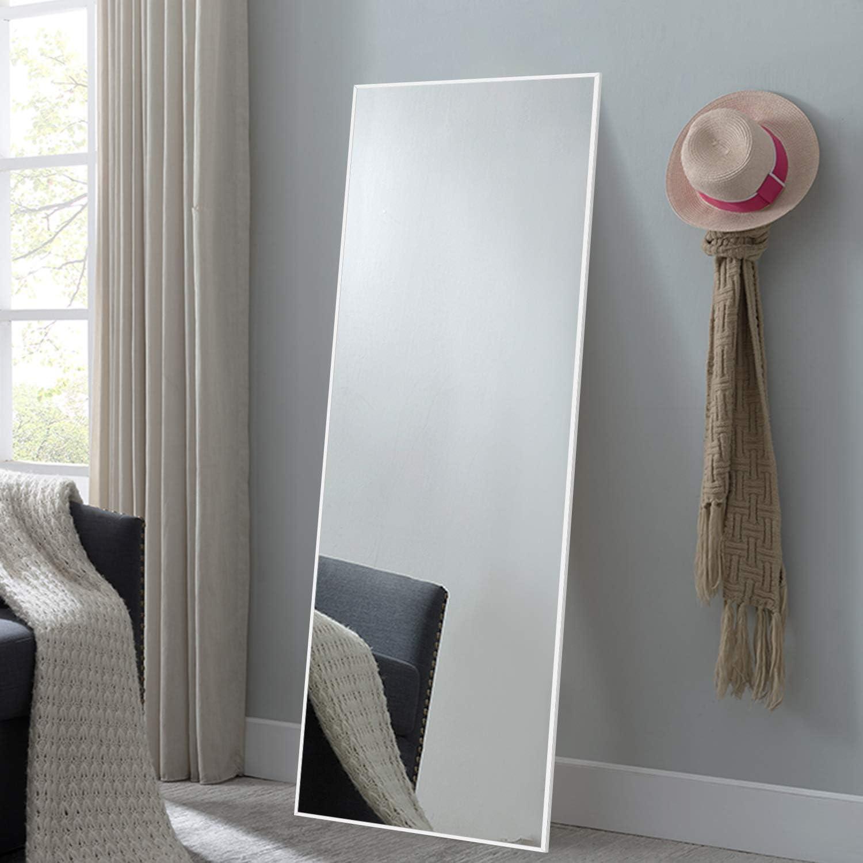 NeuType Full Length Mirror Floor Mirror with Standing Holder Bedroom/Locker Room Standing/Hanging Mirror Dressing Mirror (White)