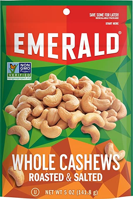 Emerald Roasted & Salted Whole Cashews, Stand Up Resealable Bag, 5 Ounce