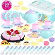 Toys Tea Set 50 Pieces Party Play Food for Kids,Princess Tea Time Toy Set Including Dessert,Cookies,Doughnut,Tea Party Acces