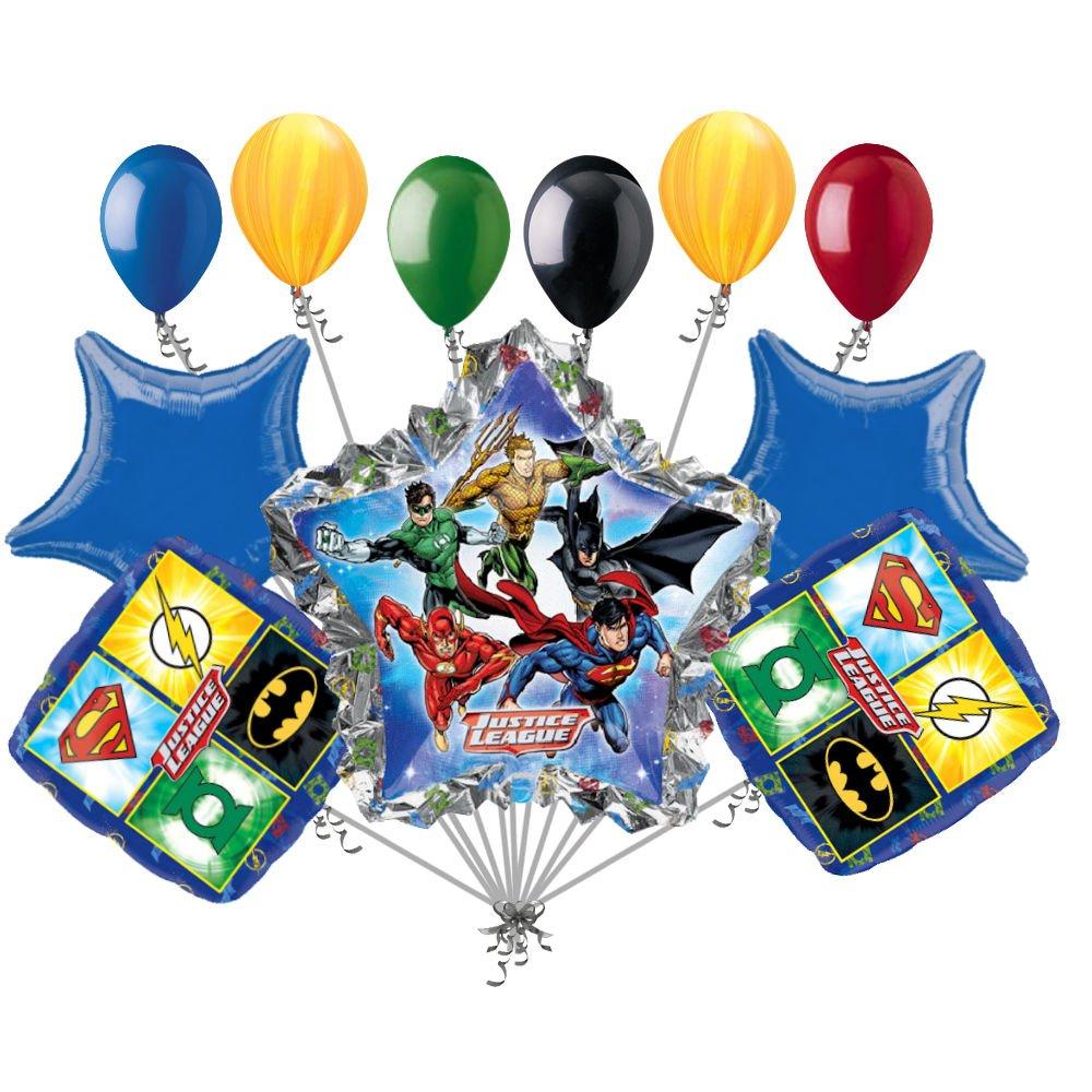 11 pc Justice Leagueバルーンブーケ装飾誕生日バットマンスーパーマンヒーロー   B01HKDW8W2