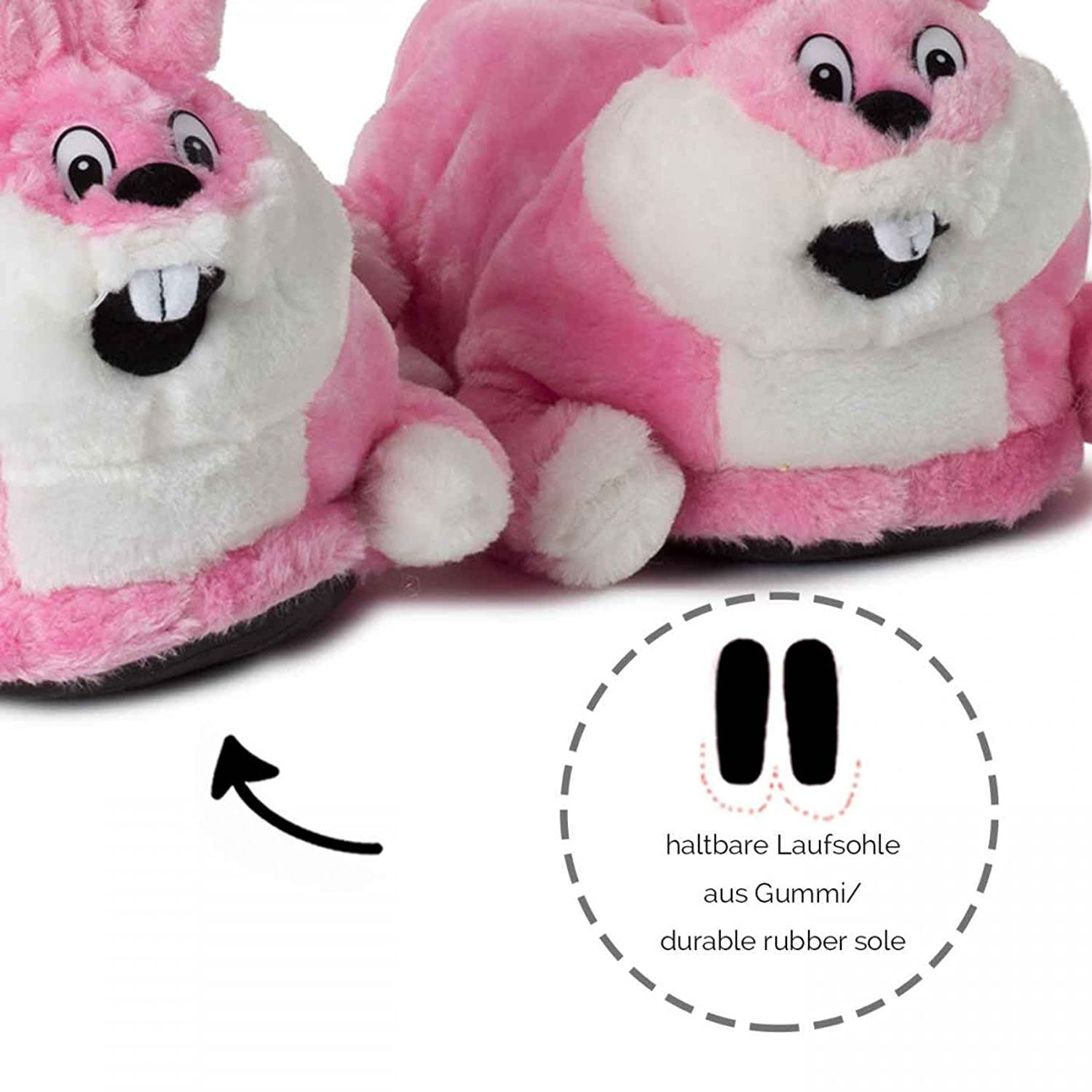 Bunny Plush Animal Novelty Slippers Pink For children and Adults Tested and  Certified For harmful substances** With Rubber Sole: Amazon.co.uk: Shoes &  Bags